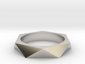 Shifted Hexagon 13.21mm in Rhodium Plated Brass