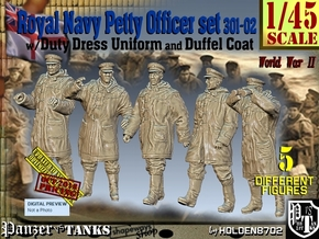 1/45 Royal Navy DC Petty OffIcer Set301-02 in Smooth Fine Detail Plastic
