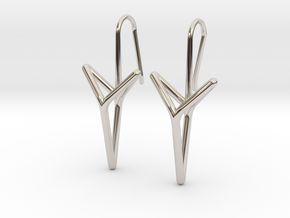 YOUNIVERSAL Straight. Elegant Earrings.  in Rhodium Plated Brass