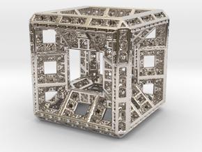 Fractal Hypercube Pendant in Platinum