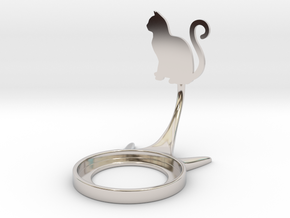 Animal Cat Curly in Rhodium Plated Brass