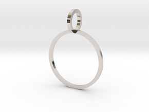 Charm Ring 16.00mm in Rhodium Plated Brass