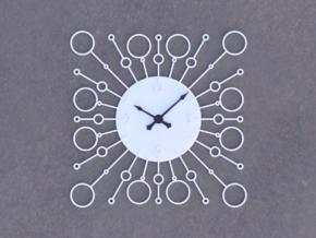 Sunburst Clock - Bubbles in White Natural Versatile Plastic