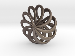 Floral Pinwheel Pendant 65 in Polished Bronzed-Silver Steel