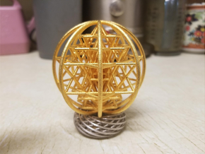 "3D Sri Yantra 8 Sided Symmetrical Large 3+"" in Polished Gold Steel"