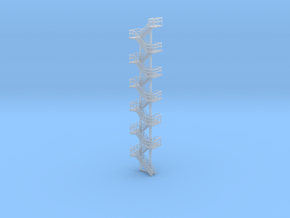N Scale Staircase H140.2mm in Smooth Fine Detail Plastic