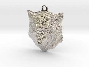Growling Wolf face relief. Pendant 4cm in Rhodium Plated Brass