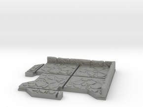 Small Corner Dungeon Tile in Gray PA12