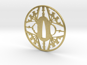Tsuba-fans-print in Natural Brass