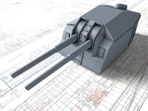 "1/128 DKM 15cm/48 (5.9"") Tbts KC/36T Gun x1 in Smooth Fine Detail Plastic"