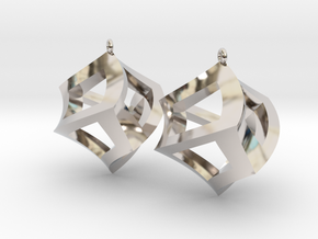 Twisted Cube Earrings in Rhodium Plated Brass
