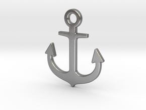 Anchor Pendant in Natural Silver