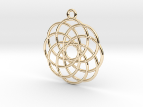 Spirograph Flower Pendant, 8 Petals in 14K Yellow Gold