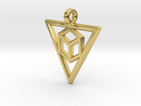 Geometric Triangle Pendant in Polished Brass
