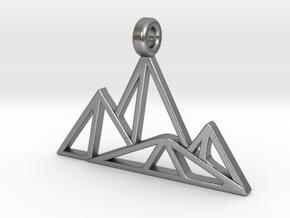 Geometric Mountain Pendant in Natural Silver