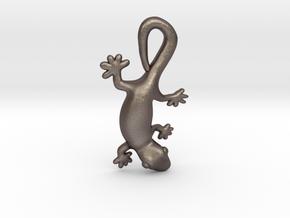 Cute Gecko Pendant in Polished Bronzed-Silver Steel