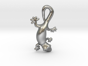 Cute Gecko Pendant in Natural Silver