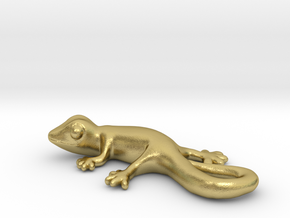 Cute Gecko Keychain in Natural Brass