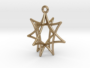 Star Ornament, 7 Points in Polished Gold Steel