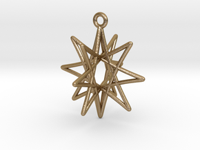 Star Ornament, 8 Points in Polished Gold Steel