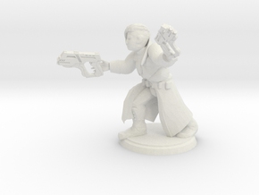Cyberpunk Gunslinger (28mm Scale Miniature) in White Natural Versatile Plastic