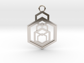 Geometrical pendant no.9 in Rhodium Plated Brass: Medium