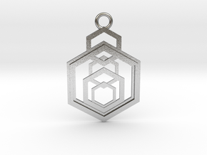 Geometrical pendant no.9 in Natural Silver: Medium