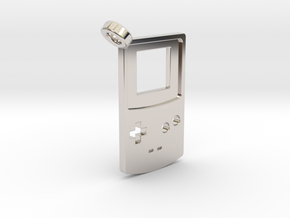 Gameboy Color Styled Pendant in Rhodium Plated Brass