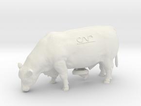 1/32 Polled Grazing Bull in White Natural Versatile Plastic