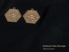 Sunburst Hex Earrings  in Natural Bronze