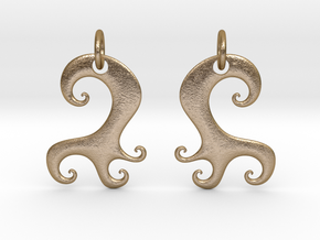 Wavy Earrings in Polished Gold Steel