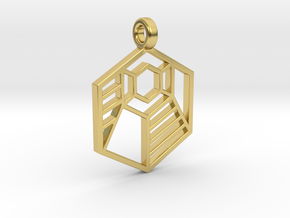 Geometric Striped Hexagon Pendant in Polished Brass