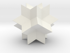 RHOMBIC HEXECONTAHEDRON 50mm in White Natural Versatile Plastic: 28mm