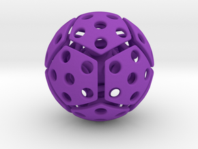 bouncing cat toy ball perforated size S in Purple Processed Versatile Plastic: Small