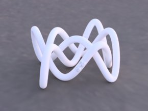 Lissajous Three-Twist Knot in White Natural Versatile Plastic
