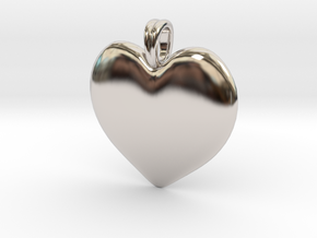 14K Gold Heart Necklace  in Rhodium Plated Brass