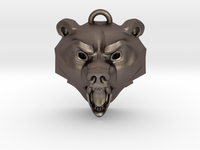 Bear Medallion (hollow version) large in Polished Bronzed-Silver Steel: Large