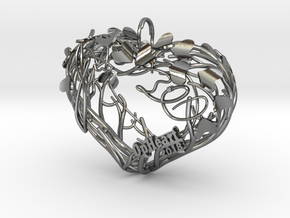 Heart Branches - Ornament in Polished Silver (Interlocking Parts): Small