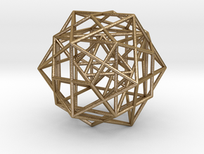 Nested Platonic Solids -round struts in Polished Gold Steel