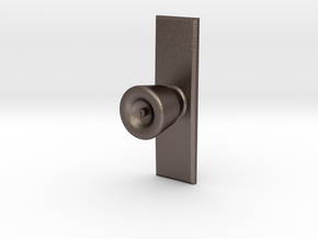 Door Knob with backing plate in 1:6 scale in Polished Bronzed-Silver Steel