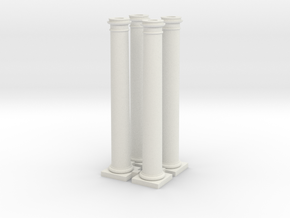 4 Doric Columns  3500mm high at 1 to 76 scale in White Natural Versatile Plastic