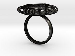 Ring with Swarovski crystal in Matte Black Steel: 7.75 / 55.875