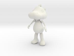 Hippopotamus ornament in White Natural Versatile Plastic