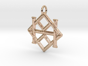 Monogram Initials AAH Pendant  in 14k Rose Gold