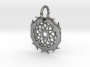 Mandela & Branches Pendant in Fine Detail Polished Silver