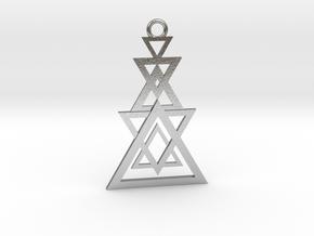 Geometrical pendant no.11 in Natural Silver: Medium