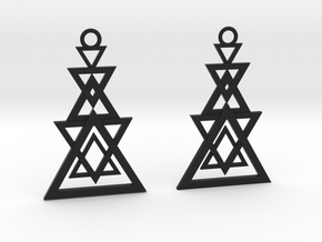 Geometrical earrings no.11 in Black Natural Versatile Plastic: Small