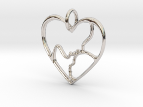 Mother and Child Pendant (small) in Rhodium Plated Brass