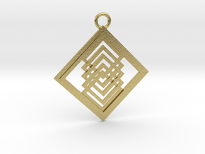 Geometrical pendant no.14 in Natural Brass: Large