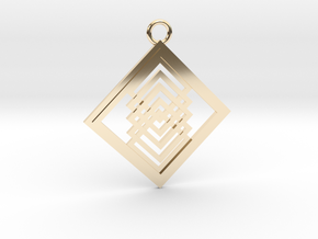 Geometrical pendant no.14 in 14k Gold Plated Brass: Large